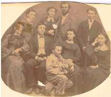 Picture Children of Fordyce Foster Gordon and Sarah Ann Smith<br>Top:  George Smith Gordon  Blanche Eugene Gordon Hammond  Oscar DeVillo Hammond  Leon Luther Gordon<br>Middle:  Emma Smith Gordon Jackson  Charles Bowen Gordon  Mary Emily Gordon  Catharine Virginia Gordon Jackson<br>Bottom:  Rollin James Gordon