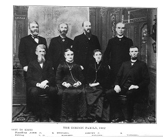 Picture Children of William Riley Gordon<br>Standing:  John Copeland Gordon     Goodson Stoddard Gordon     Asbury Bishop Gordon     Jedediah Buckingham Gordon<br>Sitting:  Lorenzo Dow Gordon     Kastorn Gordon Washburn     Salome Gordon Bell     Tarbell Gordon